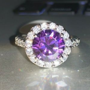 Round Cut Amethyst Pave Diamond Silver Dinner Ring